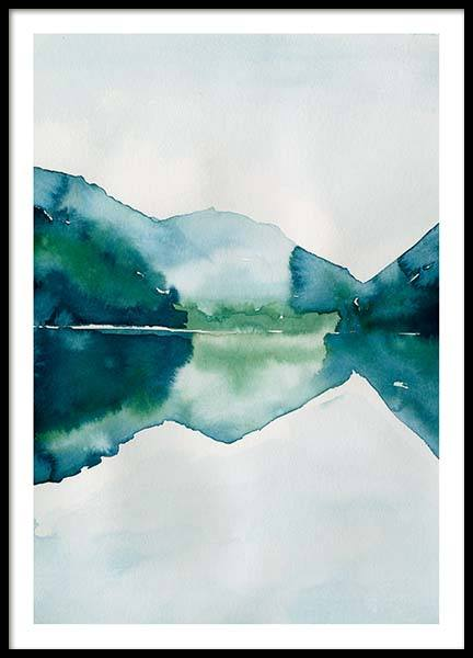Watercolor Mountain Reflection Poster in der Gruppe Poster / Größen und Formate / 50x70cm bei Desenio AB (10123)