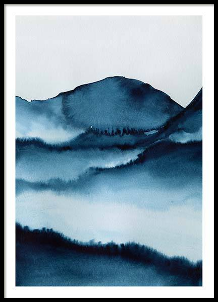 Watercolor Mountains Poster