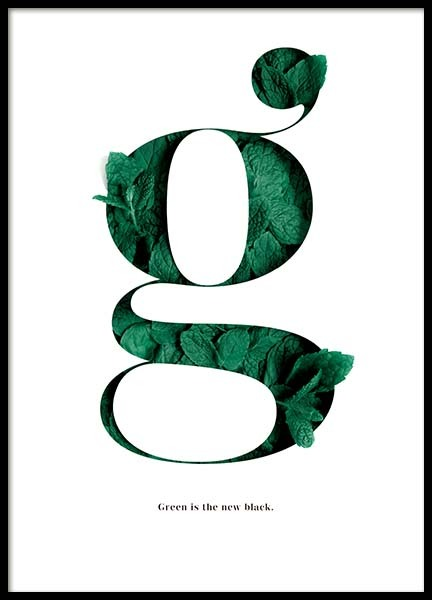 Green Is The New Black Poster in der Gruppe Poster / Typografie Poster bei Desenio AB (10137)