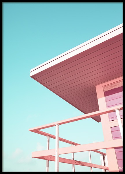Pink Beach Tower Poster