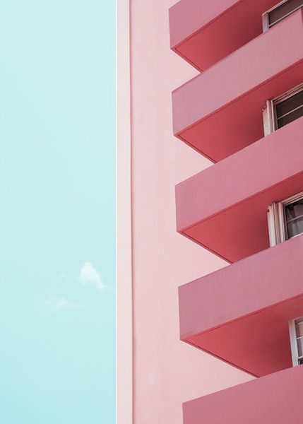 Pink Balconies Poster in der Gruppe Studio Collections / Studio Coast to Coast / Miami bei Desenio AB (10770)