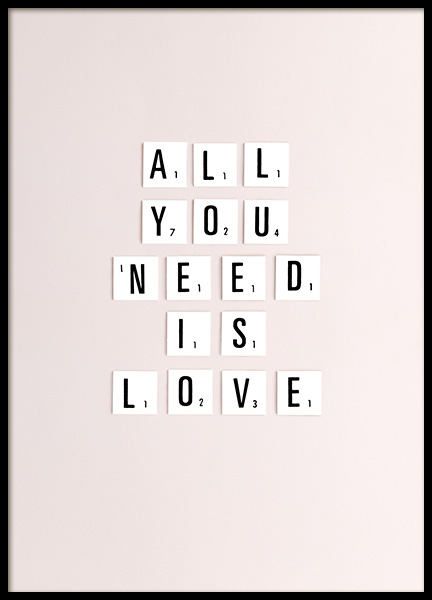 All You Need Is Love Poster in der Gruppe Poster / Typografie Poster bei Desenio AB (10862)