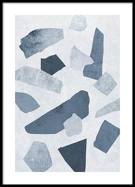 Terrazzo Blue Poster
