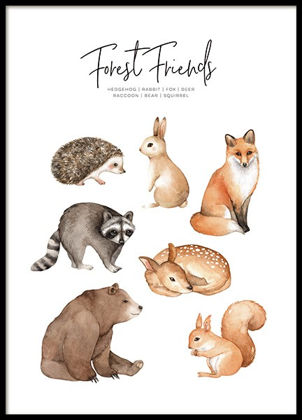 Forest Animals Poster in der Gruppe Poster / Kinder bei Desenio AB (11378)