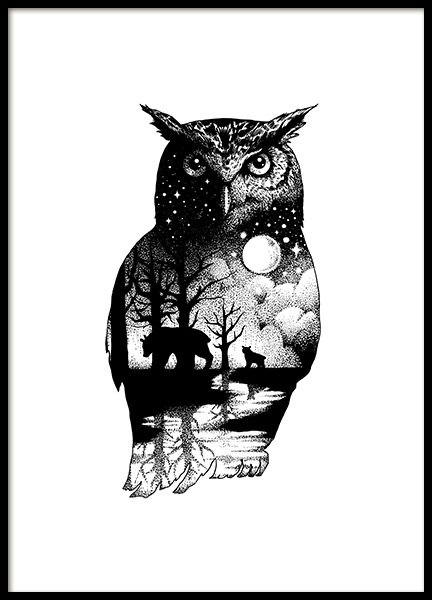 Ink Dot Owl Poster in der Gruppe Poster / Illustration bei Desenio AB (11418)