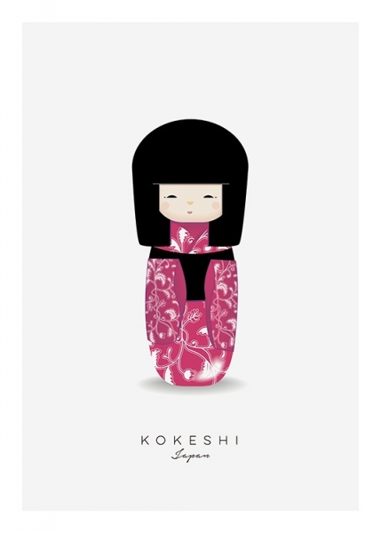 Kokeshi Doll Pink Poster in der Gruppe Poster / Kinder bei Desenio AB (11456)