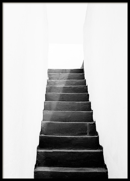 Black and White Stairs Poster