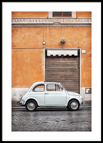 Vintage Car in Rome Poster