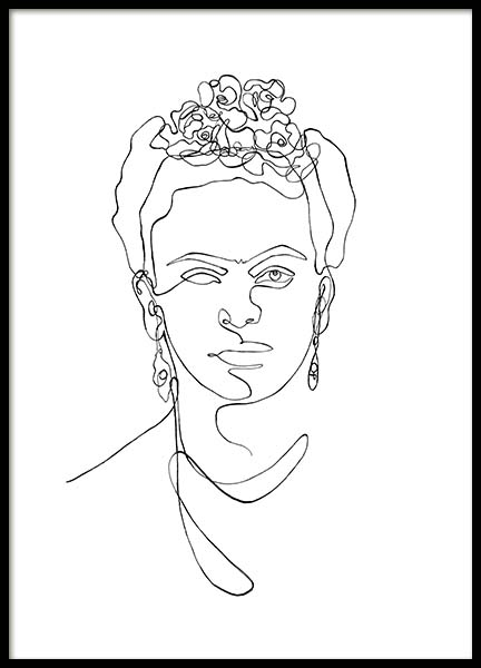 Frida Kahlo Line Art Poster