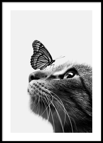 Butterfly Cat Poster in der Gruppe Poster / Kinder bei Desenio AB (11774)