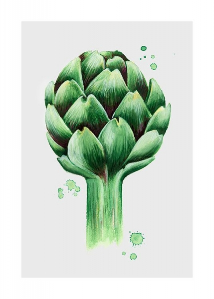 Artichoke watercolor Poster in der Gruppe Poster / Illustration bei Desenio AB (11959)