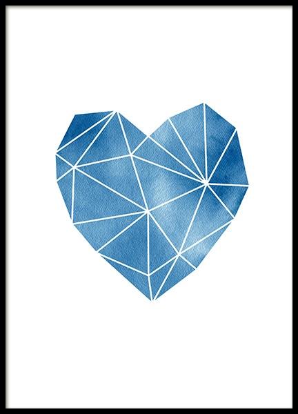 Geometric Watercolor Heart Poster