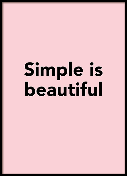 Simple is Beautiful Poster in der Gruppe Poster / Typografie Poster bei Desenio AB (12350)