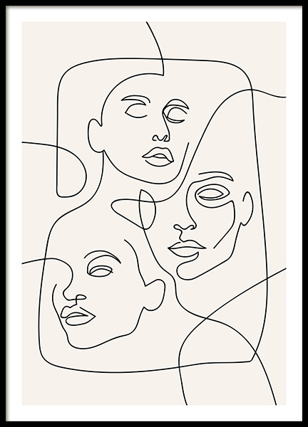 The Three Faces Line Art Poster in der Gruppe Poster / Illustration bei Desenio AB (12506)
