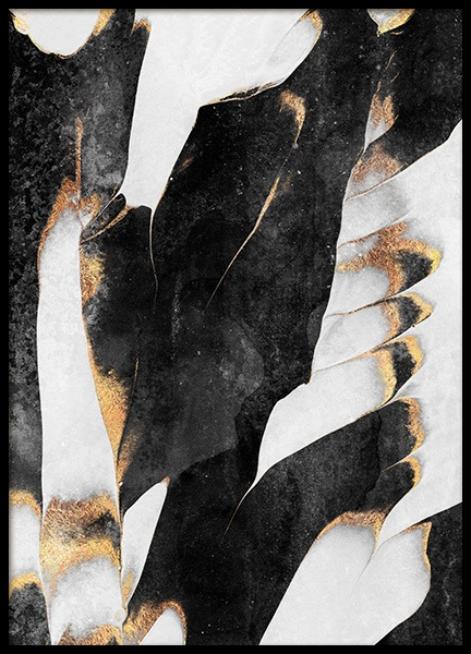 Black And Gold Veins No1 Poster in der Gruppe Poster / Kunstdrucke / Abstrakte Kunst bei Desenio AB (12549)