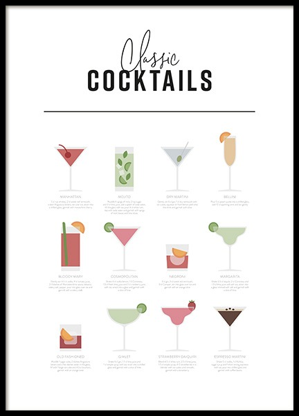 Classic Cocktail Guide Poster in der Gruppe Poster / Typografie Poster bei Desenio AB (12668)