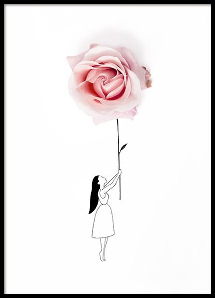 Rose Balloon Poster