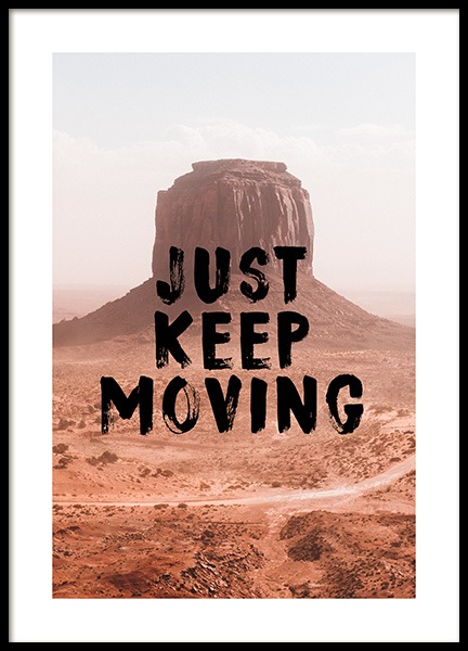 Just Keep Moving Poster in der Gruppe Poster / Typografie Poster bei Desenio AB (12787)