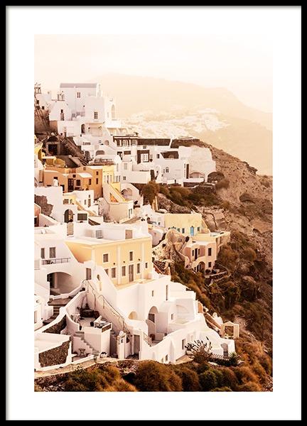 Santorini Village Poster