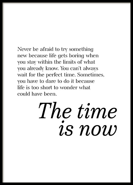 The Time is Now Poster in der Gruppe Poster / Typografie Poster bei Desenio AB (13170)
