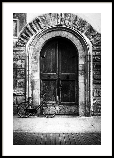 Bike and Arched Door Poster