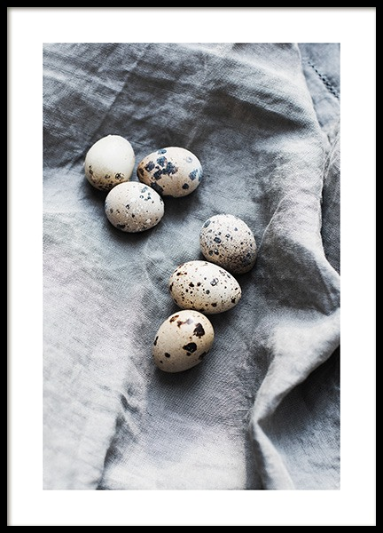 Eggs on Linen Poster