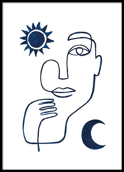 Abstract Face in Blue Poster in der Gruppe  bei Desenio AB (13664)