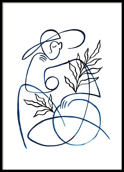 Abstract Lady in Blue Poster in der Gruppe  bei Desenio AB (13666)