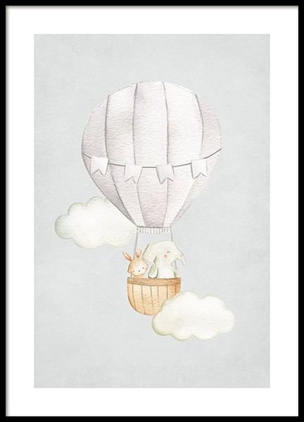 Hot Air Balloon No1 Poster in der Gruppe Poster / Kinder / Tierzeichnungen bei Desenio AB (13715)