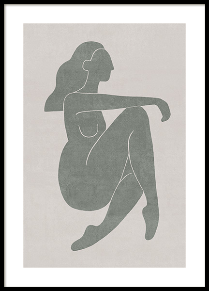 Seated Pose Green No2 Poster in der Gruppe Poster / Illustration bei Desenio AB (13800)