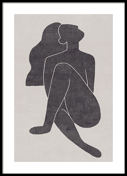 Seated Pose Black No1 Poster in der Gruppe Poster / Illustration bei Desenio AB (13801)