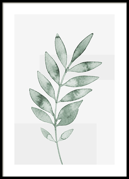 Watercolor Leaves No4 Poster
