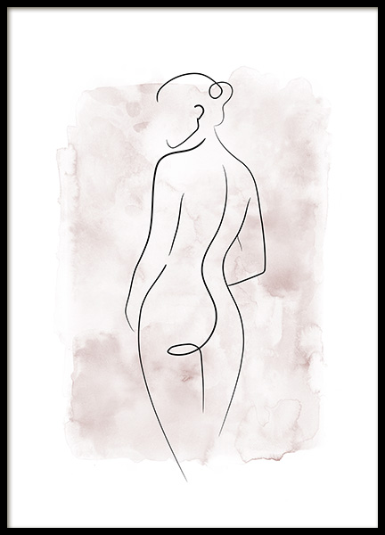 Watercolor Body Lines No1 Poster in der Gruppe Poster / Kunstdrucke / Line Art bei Desenio AB (14138)