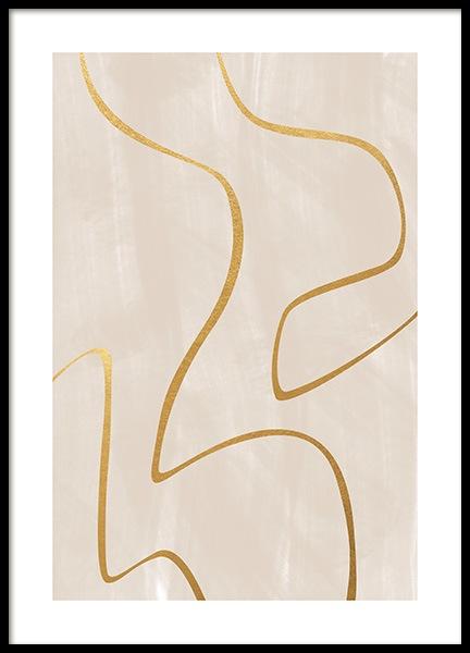 Curvy Golden Lines Poster