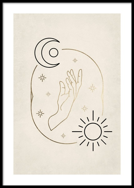 Sun and Moon Hand Poster in der Gruppe Poster / Illustration bei Desenio AB (14687)