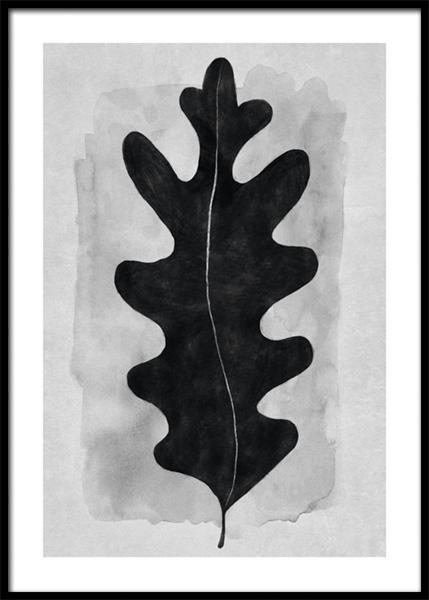 Black Oak Leaf Poster