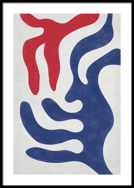 Red and Blue Abstract Poster
