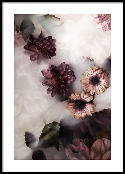 Floating Flowers Poster