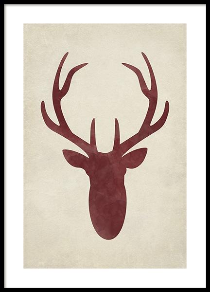 Watercolor Deer Silhouette Poster