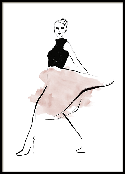Pink Skirt Illustration Poster