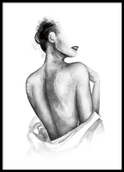 Almost Nude Watercolor Poster