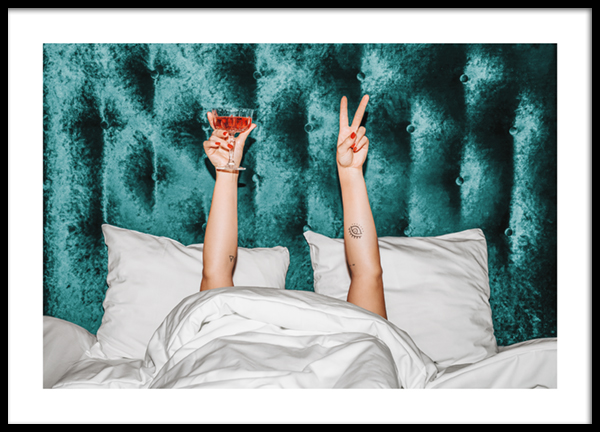 Cocktails In Bed Poster
