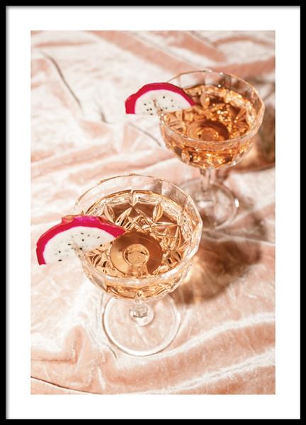 Rosé Champagne Cocktails Poster