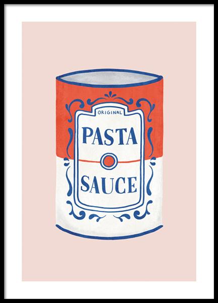 Pasta Sauce Illustration Poster
