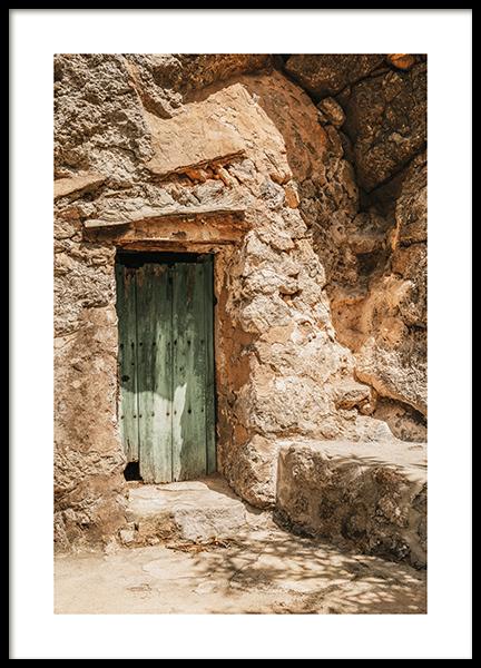 Mallorca Green Door Poster