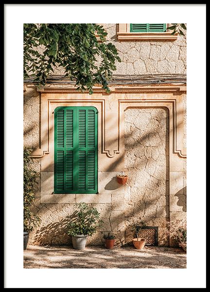 Green Window Poster