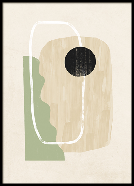 Green and Beige Abstract Poster