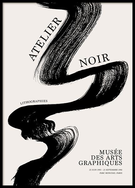 Black Brush Stroke Poster