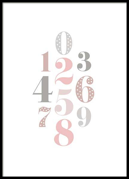 Numbers Pink  Poster in der Gruppe Poster / Kinder bei Desenio AB (2210)