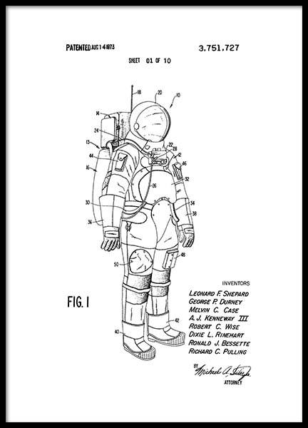 Space Suit Patent Poster in der Gruppe Poster / Vintage bei Desenio AB (2343)